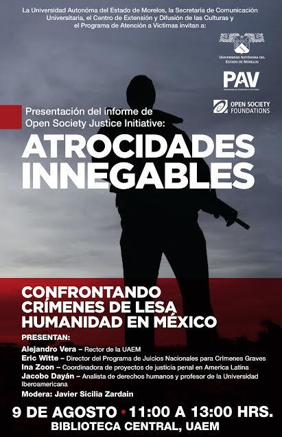 Presentarán en UAEM informe sobre crímenes de lesa humanidad en México